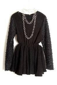 Black Long Sleeve Elastic Waist Pleated Dress