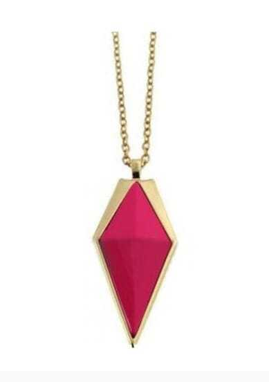 Rose Pink Cone Gold Long Necklace