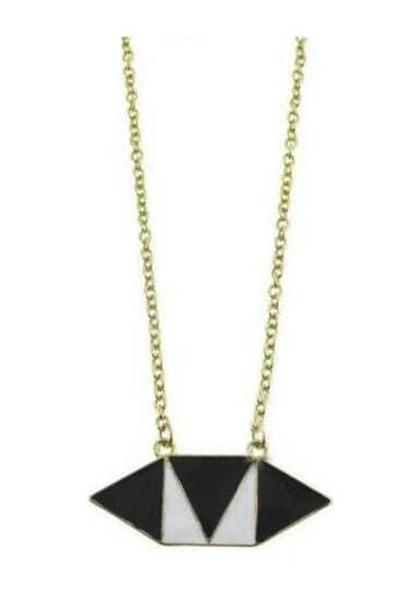 Black White Geometric Gold Long Necklace