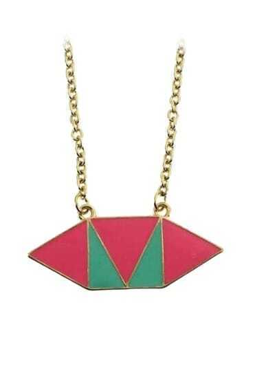 Pink Blue Geometric Gold Long Necklace