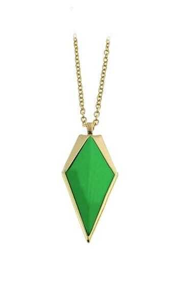 Green Cone Gold Long Necklace