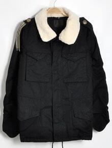 Black Long Sleeve Epaulet Pockets Fleece Collar Coat
