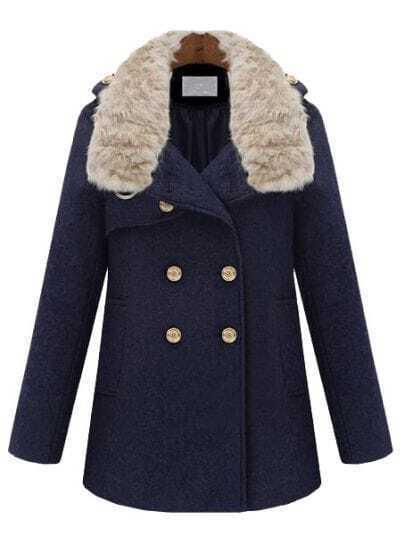 Navy Fur Lapel Long Sleeve Buttons Pockets Coat