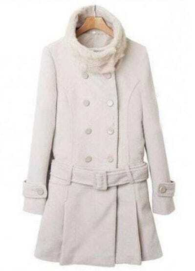White Fur High Neck Long Sleeve Drawstring Waist Coat