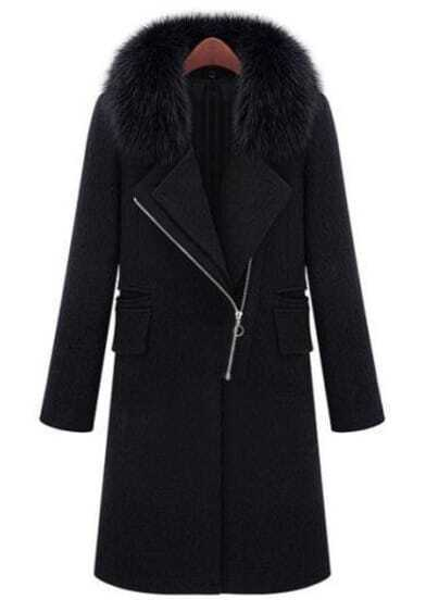 Black Fur Lapel Long Sleeve Zipper Pockets Coat