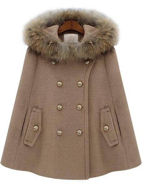Camel Fur Hooded Double Breasted Pockets Cape Coat -SheIn(Sheinside)