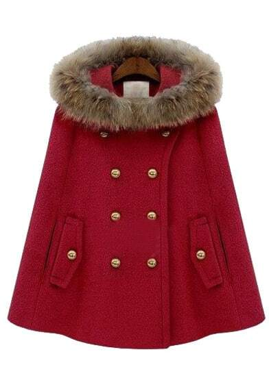 Red Fur Hooded Double Breasted Pockets Cape Coat