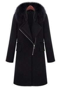 Black Fur Lapel Long Sleeve Zipper Pockets Coat