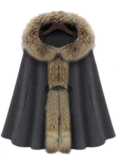 Dark Grey Fur Hooded Buckle Ruffles Cape Coat
