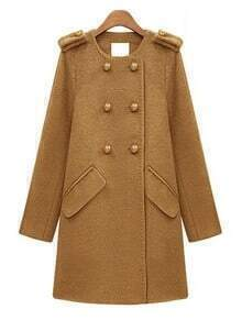 Camel Long Sleeve Epaulet Double Buttons Pockets Wool Coat