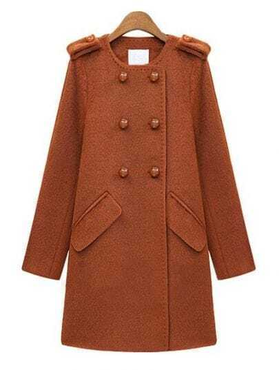 Orange Long Sleeve Epaulet Double Buttons Pockets Wool Coat