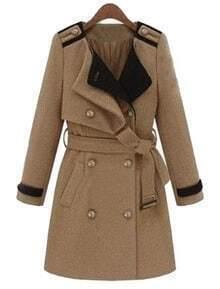 Khaki Lapel Long Sleeve Epaulet Drawstring Coat