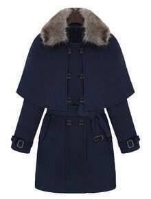 Navy Fur Lapel Long Sleeve Drawstring Cape Coat