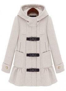 Beige Hooded Long Sleeve Ruffles Pockets Coat