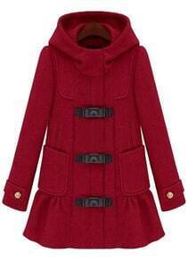 Red Hooded Long Sleeve Ruffles Pockets Coat