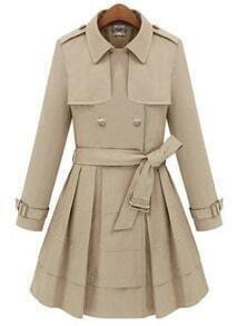 Beige Lapel Long Sleeve Epaulet Drawstring Coat