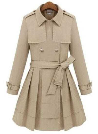 Beige Lapel Long Sleeve Epaulet Drawstring Coat