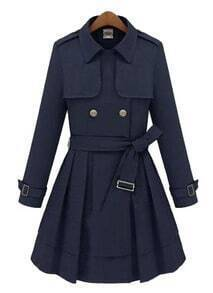 Navy Lapel Long Sleeve Epaulet Drawstring Coat