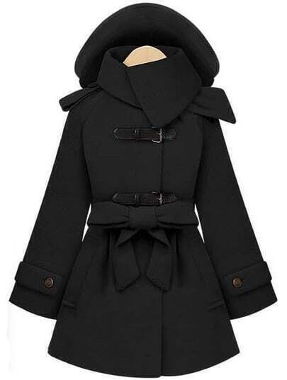 Black Removable Hooded Long Sleeve Drawstring Coat