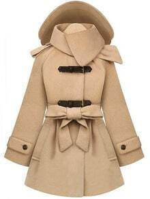 Beige Removable Hooded Long Sleeve Drawstring Coat