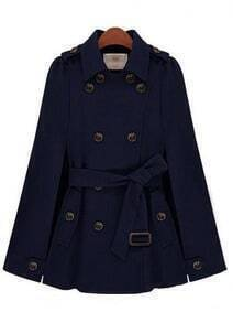 Navy Lapel Split Drawstring Buttons Cape Coat