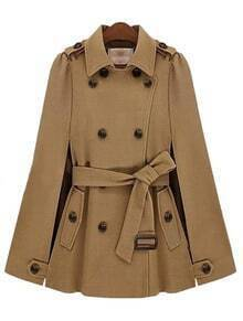 Camel Lapel Split Drawstring Buttons Cape Coat