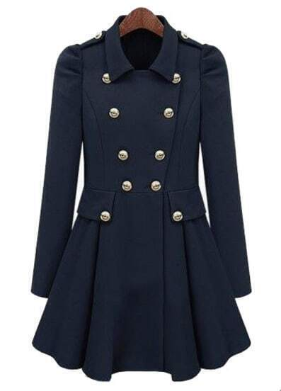 Navy Pleated Long Sleeve Buttons Ruffles Coat