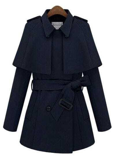 Navy Removable Cape Long Sleeve Drawstring Coat