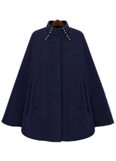 Navy High Neck Beading Pockets Cape Coat