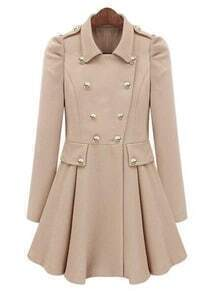 Beige Pleated Long Sleeve Buttons Ruffles Coat