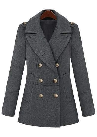 Grey Lapel Long Sleeve Epaulet Buttons Coat