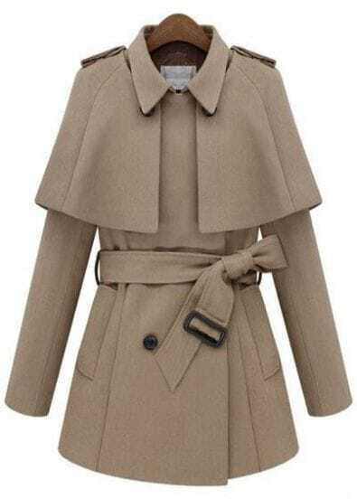 Beige Removable Cape Long Sleeve Drawstring Coat