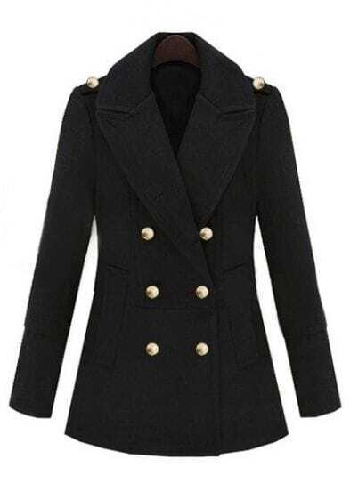 Black Lapel Long Sleeve Epaulet Buttons Coat