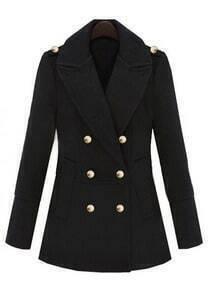 Black Lapel Long Sleeve Epaulet Buttons Coat