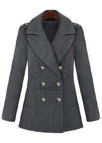 Grey Lapel Long Sleeve Epaulet Buttons Coat