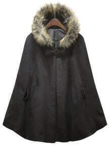 Black Fur Hooded Pockets Cape Coat