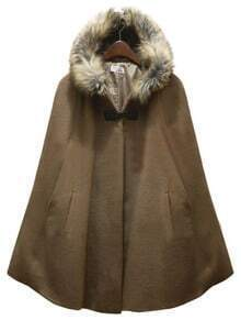 Camel Fur Hooded Pockets Cape Coat