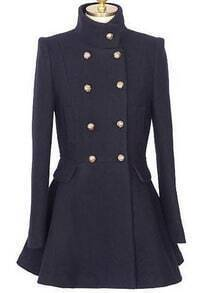 Navy High Neck Long Sleeve Ruffles Pockets Coat