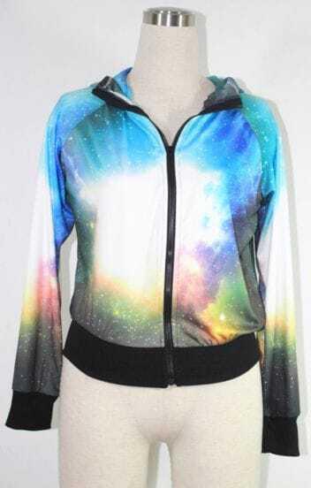 Blue and White Dye Tye Galaxy Hooded Sweatshirt