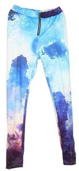 Blue and White Cloud Galaxy Dip Dye Zipper Legging