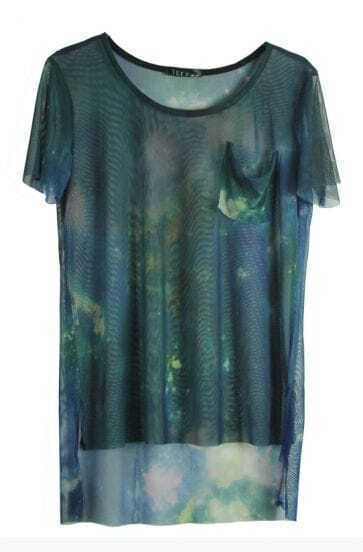Blue Galaxy Print Transparent Short Sleeve Dipped Hem T Shirt