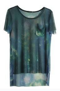 Blue Galaxy Print Transparent Short Sleeve Dipped Hem T Shirt