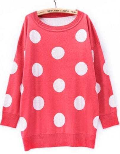 Red Long Sleeve Polka Dot Loose Pullovers Sweater