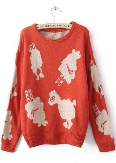 Orange Long Sleeve Animal Print Pullovers Sweater