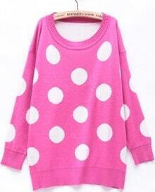 Rose Red Long Sleeve Polka Dot Loose Pullovers Sweater