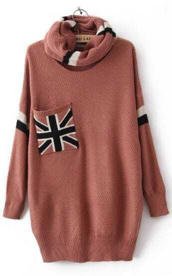Pink High Neck Long Sleeve Union Jack Pocket Sweater