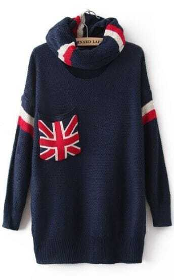 Navy High Neck Long Sleeve Union Jack Pocket Sweater