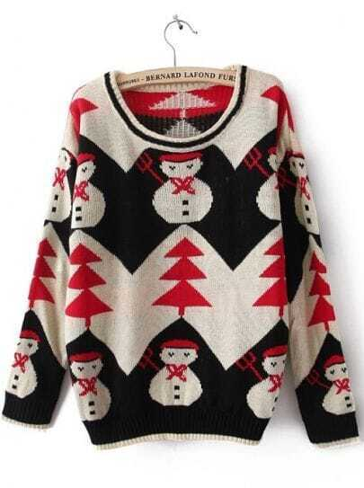 Black Long Sleeve Snowman Embroidery Pullovers Sweater