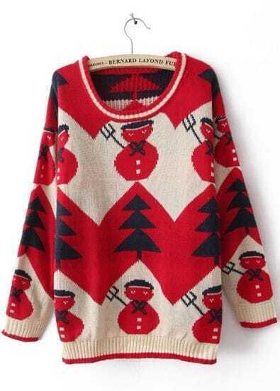 Red Long Sleeve Snowman Embroidery Pullovers Sweater
