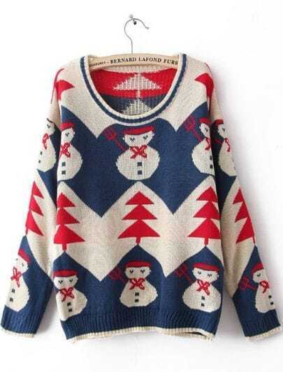 Blue Long Sleeve Snowman Embroidery Pullovers Sweater